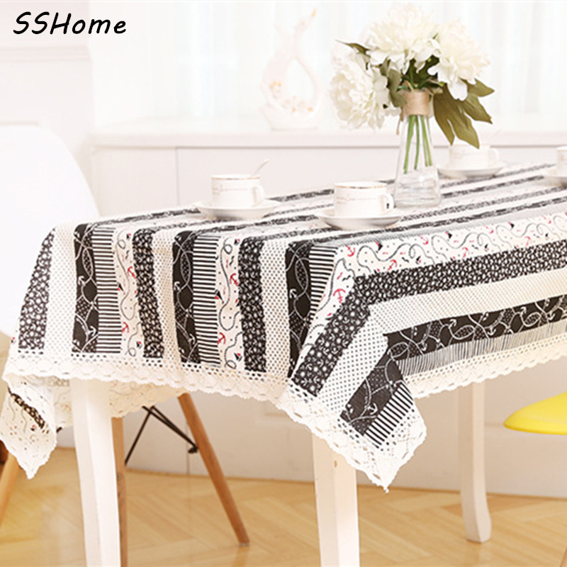 Cotton and Linen Tablecloth European Simple Style Wood Grain Tea Table Cloth Covers