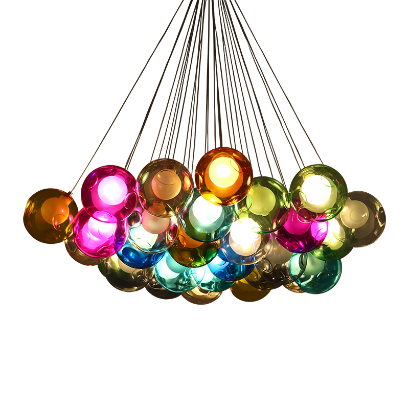купить Creative Modern LED Pendant Light hand-made colorful bubble DIY Crystal Glass G4 3W LED bulb AC220V Toolery LED Suspension Lamp недорого