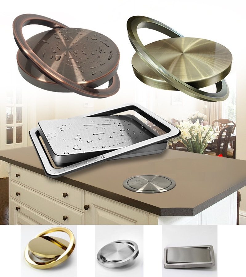 цена на Premintehdw Stainless Steel Flush Recessed Built-in Balance Swing Flap Lid Cover Trash Bin Garbage Can Kitchen Counter Top