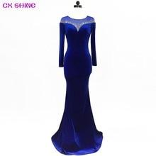 CX SHINE 스팽글 긴 이브닝 드레스 풀 슬리브 레이스 그린 블루 와인 인어 트럼펫 파티 파티 드레스 robe de soiree Vestidos