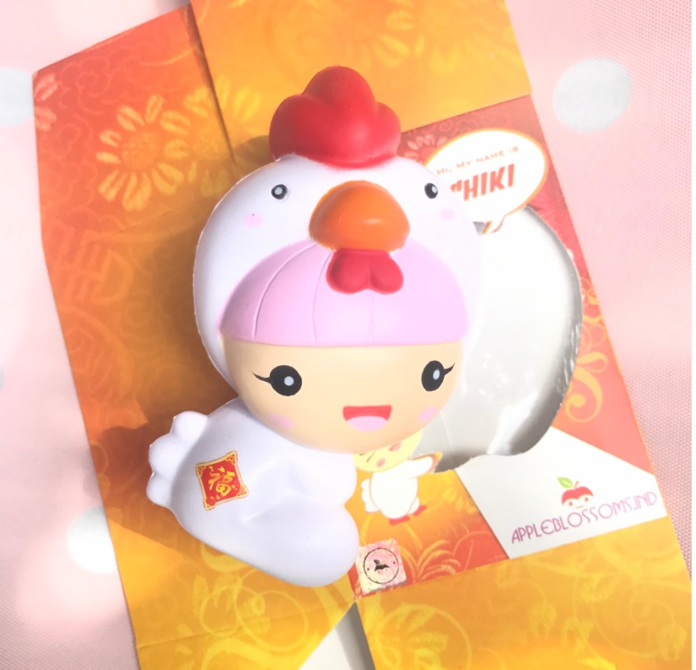 2017 New Kawaii Squishy Chick Chicken Hat Baby Slow Rising Cute Phone Straps Retail Packaging Bread Cake Scented Kids Toy Gift