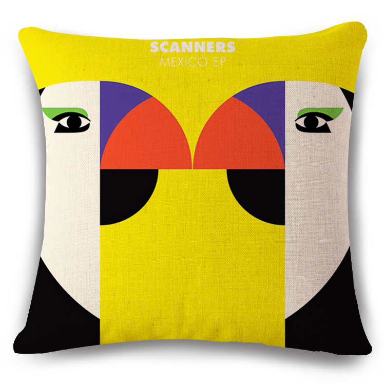 Cute cartoon flamingos girl Cushion printed(No Filler) linen Family affection Sofa Car Seat family Home Decorative Throw Pillow