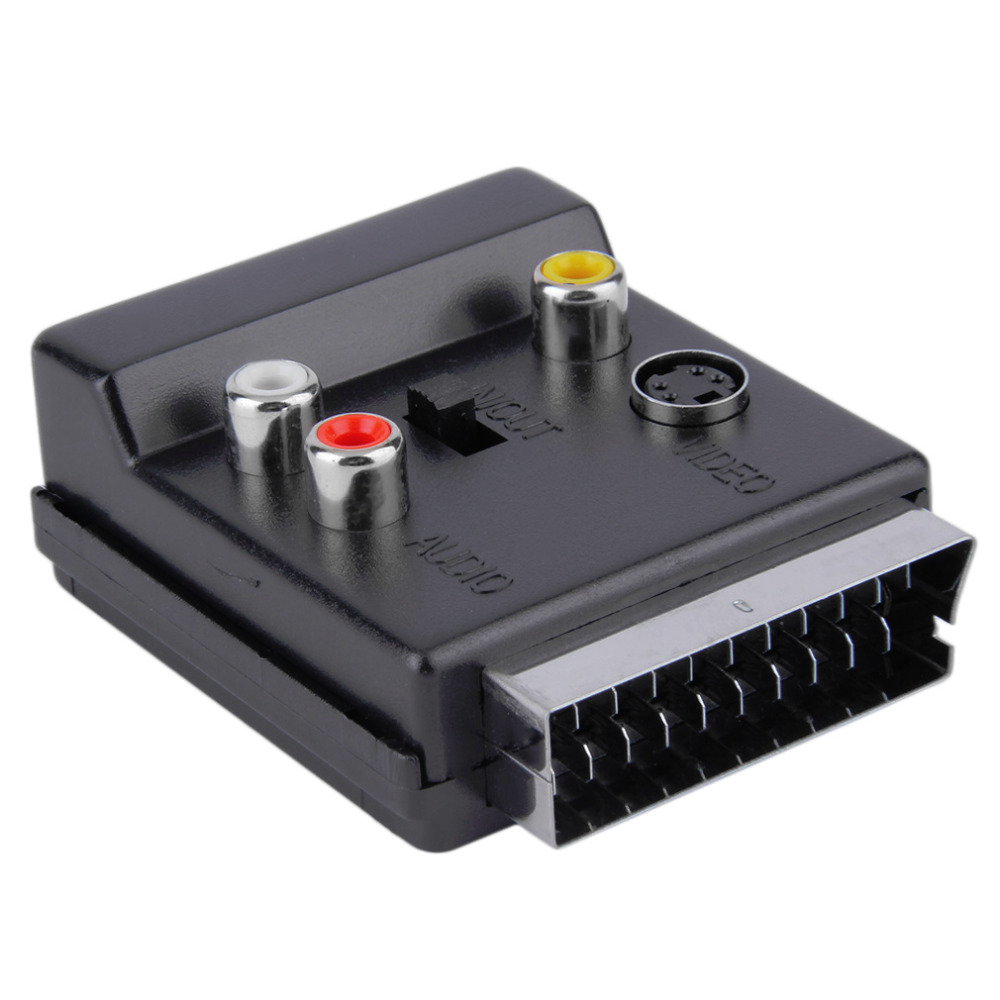 New Switchable Scart Male to Scart Female S-Video 3 RCA Audio Adapter Convertor Wholesale Drop Shipping s video male to rca female video adapter