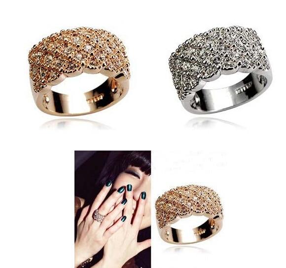 Luxury 2Color Temperament Korean Exquisite Full Sparking Rhinestone Ring R1043