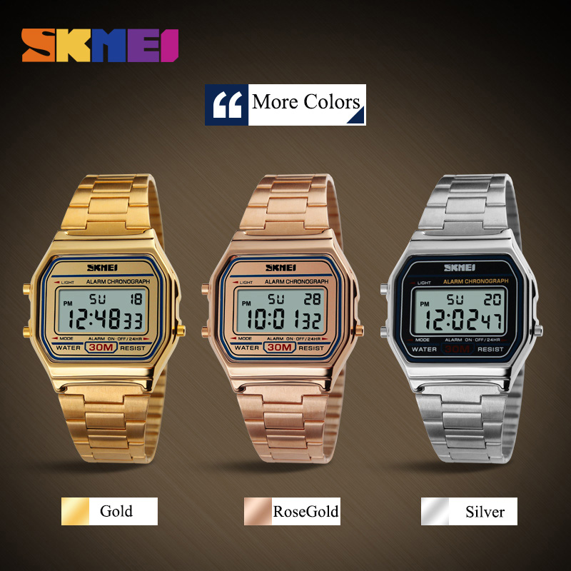 SKMEI Fashion Casual Sport Watch Men Stainless Steel Strap LED Display Watches 3Bar Waterproof Digital Watch reloj hombre 1123