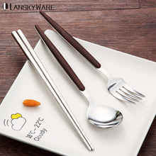 LANSKYWARE Portable Tableware Set 304 Stainless Steel Dinnerware With Eco-Friendly Wooden Handle Travel Picnic Cutlery