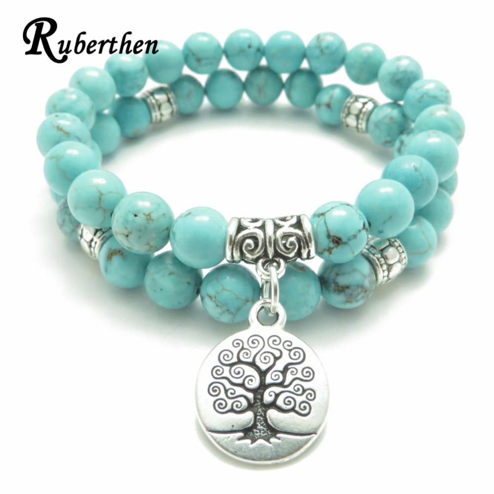 Ruberthen Baum des Lebens schmuck Yoga Mala Armband Stein Healing Schutz Elastische Perlen Stacking Armband Spirituelle schmuck