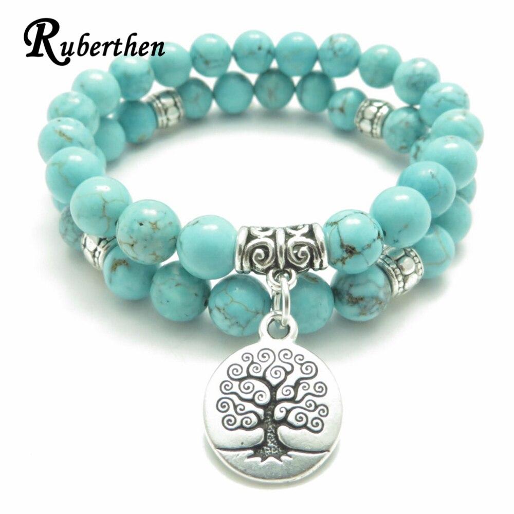 Ruberthen Tree of Life jewelry Yoga Mala Bracelet Stone Healing Protection Elastic Beaded Stacking Bracelet Spiritual jewelry
