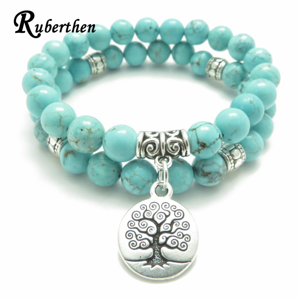 Ruberthen Tree of Life jewelry Yoga Mala Bracelet Stone Healing Protection Elastic Beaded Stacking Bracelet Spiritual jewelry