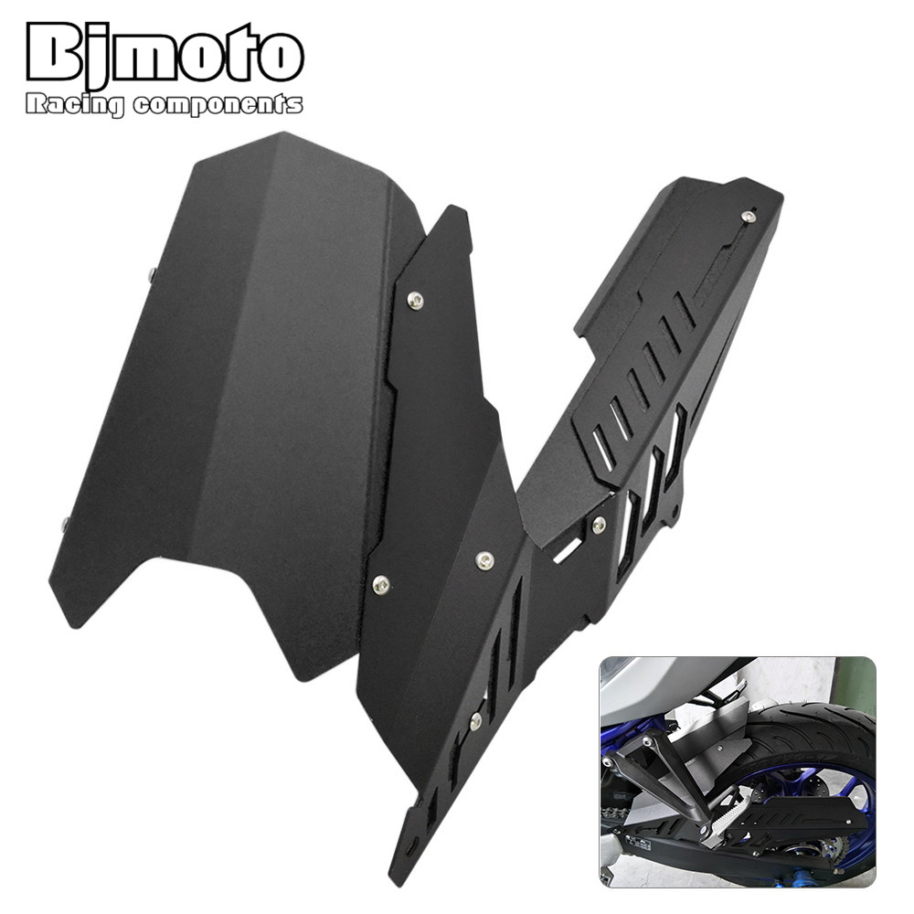 BjMoto motorcross MT25 MT03 Fender Rear Chain Guard Cover Back Mudguard For Yamaha YZF R25 2013-2017 YZFR3 2015 2016 2017 motoo for yamaha mt07 mt 07 2013 2017 fz07 2015 2016 2017 cnc aluminum rear tire hugger fender mudguard chain guard cover