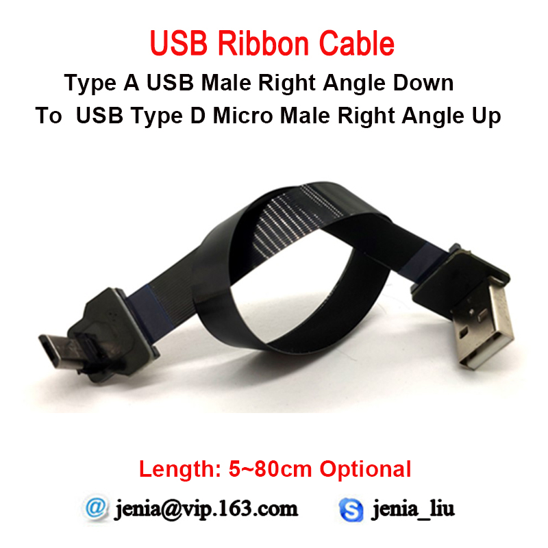 5-80CM New Flexible Micro Data Usb Cable Micro Up Angled Male To Type A Standard Down Angled Adapter