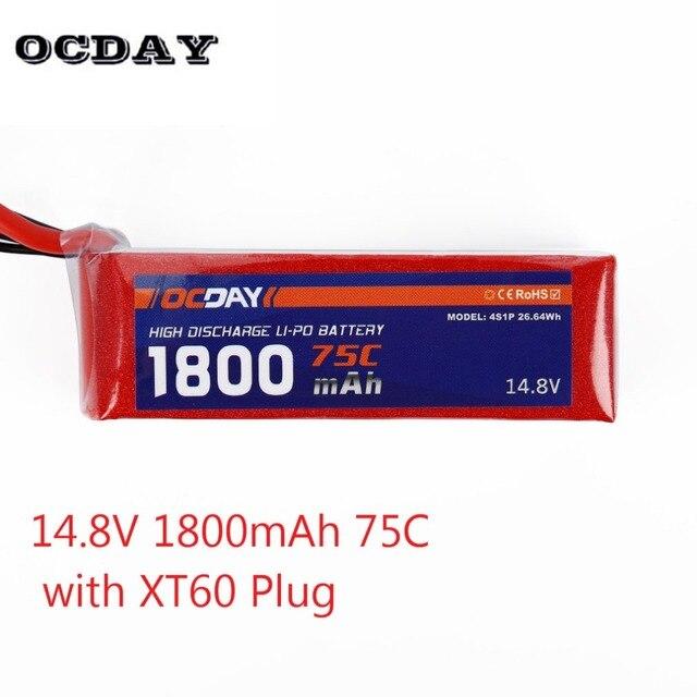 1PCS OCDAY 4S1P 26.64WH Lipo Battery 14.8V 1800mAh 75C Lipo Battery With XT60 Plug for RC 150-280 Raing Quacopter
