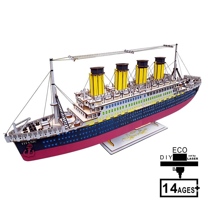 Puzzle en bois 3D modèle TITANIC Kits de construction jeu de Puzzle éducation jouets en bois pour adultes enfants pour cadeau d'anniversaire