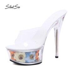 Silentsea modelos de verano zapatillas de cristal transparente 15 cm Super  alta tacones resistente al agua Sandalias Mujer zapat. 1b6904fef4cb