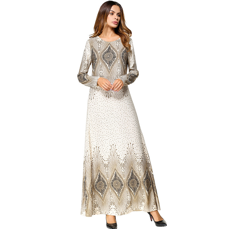 #1865450# Hot New Women Muslim Euramerica Print Long Successive Caps Long-sleeved Middle Eastern Dresses for Mujer Musulman