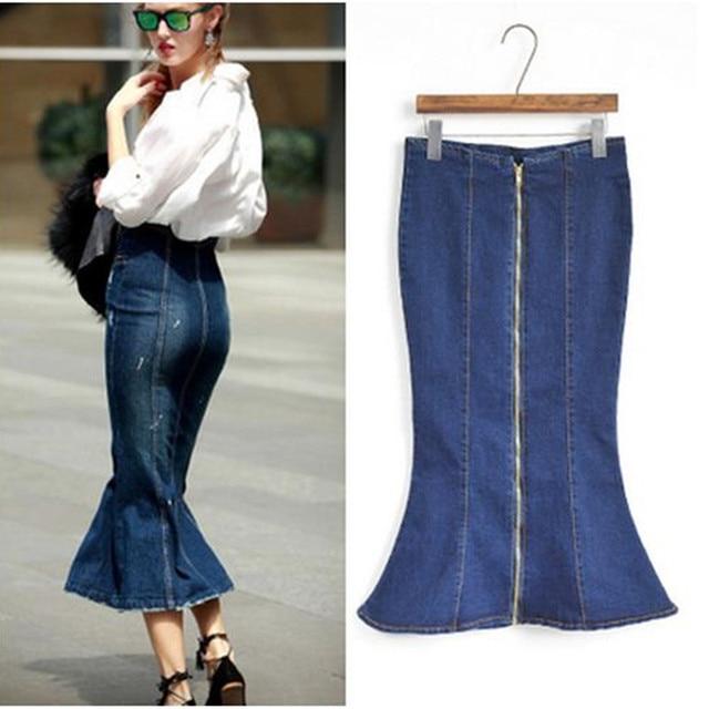 91c46bbd2 Nuevo 2016 de cintura alta falda vaquera moda europa mujeres Maxi falda  larga del paquete Hip