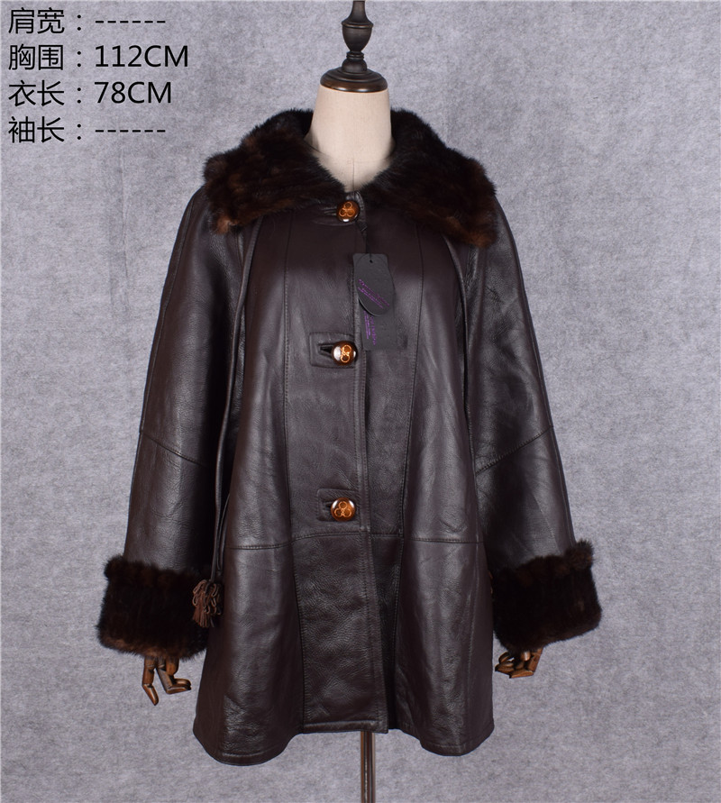 Clearance mother new genuine sheepskin leather shearling long coat winter jackets cashmere wool lining mink fur collar brown xxl