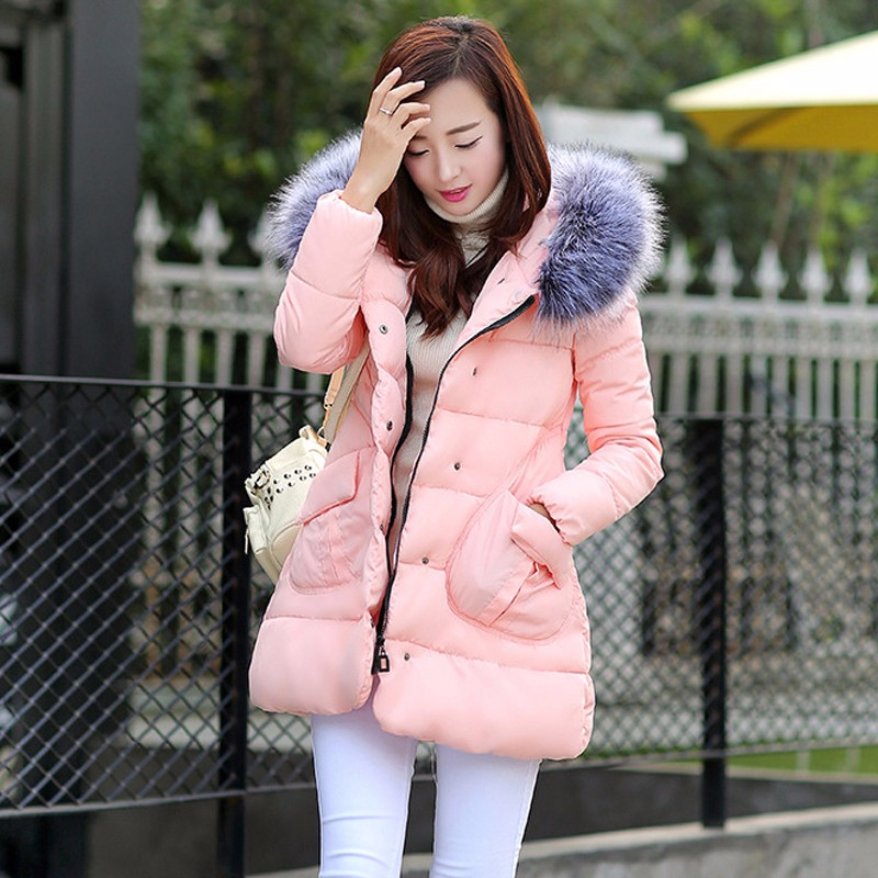 2016 1PC Winter Jacket Women Hooded Cotton Padded Coat Parkas For Female Warm Wadded Ladies Abrigos Mujer Jaqueta Feminina