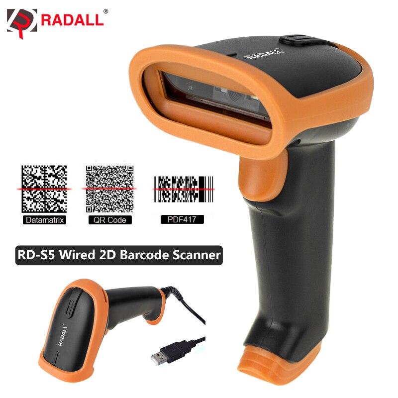 Беспроводной сканер штрих-кода RADALL проводной сканер штрих-кода 1D/2D считыватель штрих-кодов QR для инвентаризации POS терминал беспроводной ск...