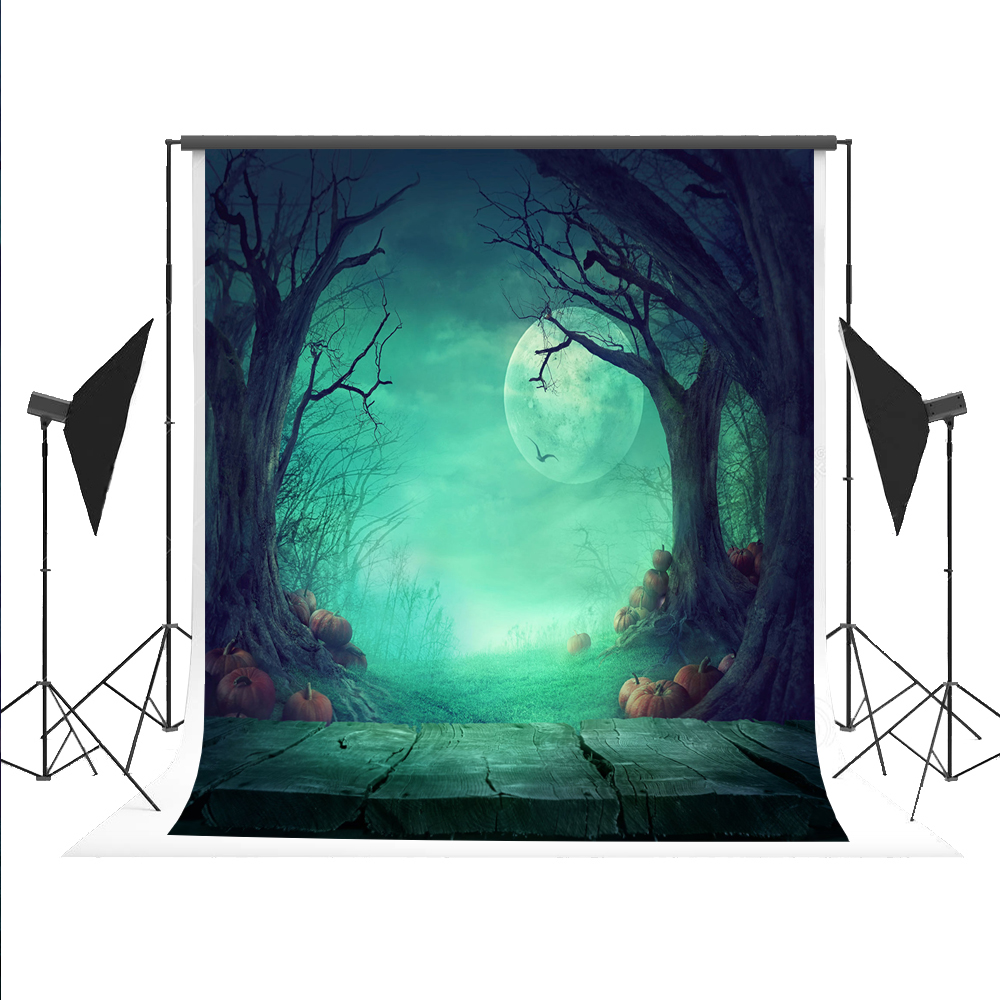 150X220cm(5*7ft)Kate Halloween Fundo Fotografico Para Estudio Pumpkin Moon Background   Dead Tree Photography Studio Backdrop  цена и фото