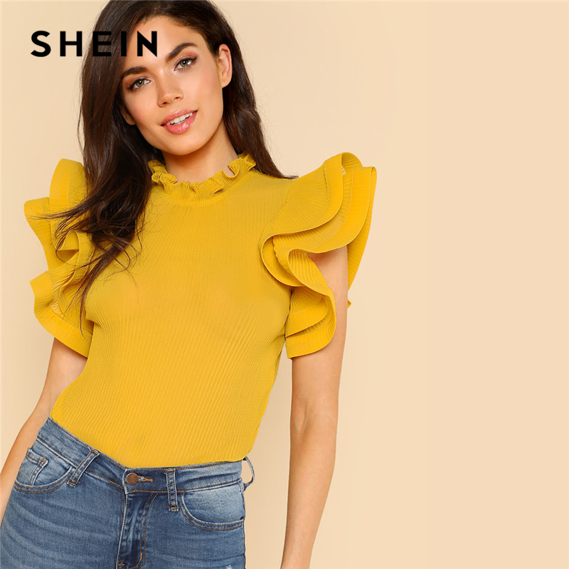 SHEIN Yellow Party Elegant Exaggerate Ruffle Trim Pleated Panel Stand Collar Blouse Summer Women Going Out Shirt Top