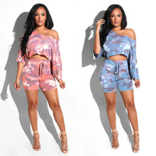 Camouflage Print Casual Two Piece Set Off the shoulder Crop Top+Slim Pants Summer Shorts set Women Sexy Romper Tracksuit все цены
