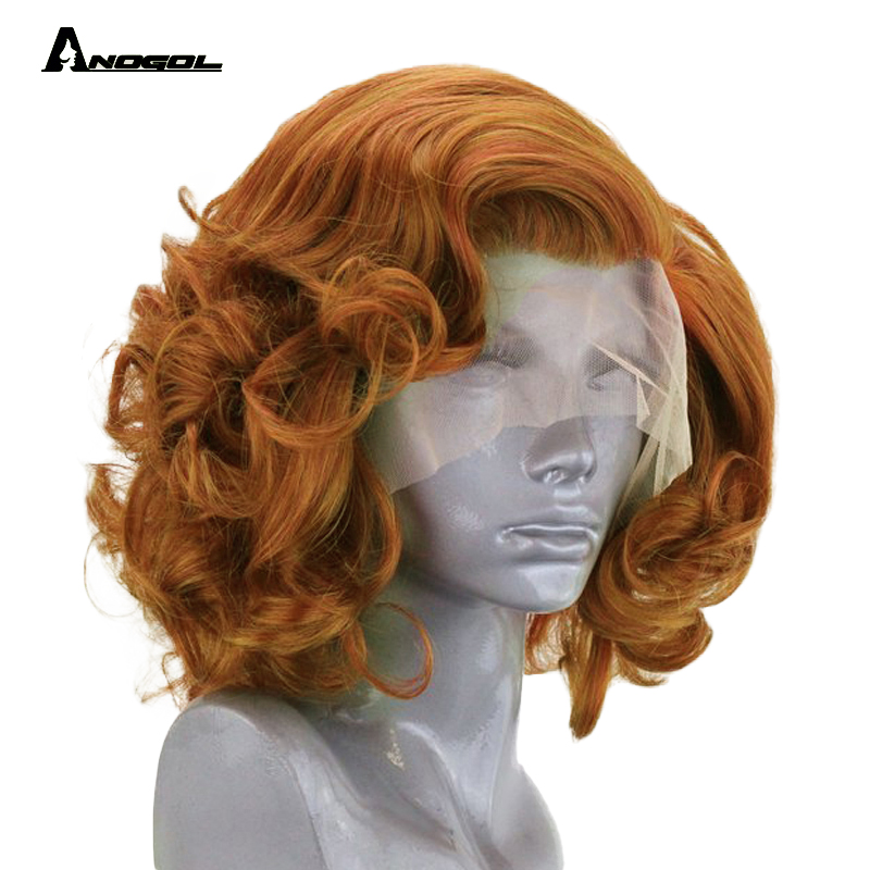 Anogol haute température Fiber feu mélange Orange court corps vague Bob perruque synthétique dentelle avant cheveux perruques pour les femmes avec partie libre