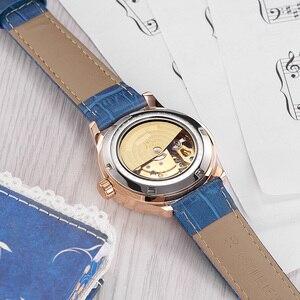 Image 4 - OUYAWEI montre bracelet en cuir pour femmes, mécanique automatique, avec cadran diamant, montre pour femme