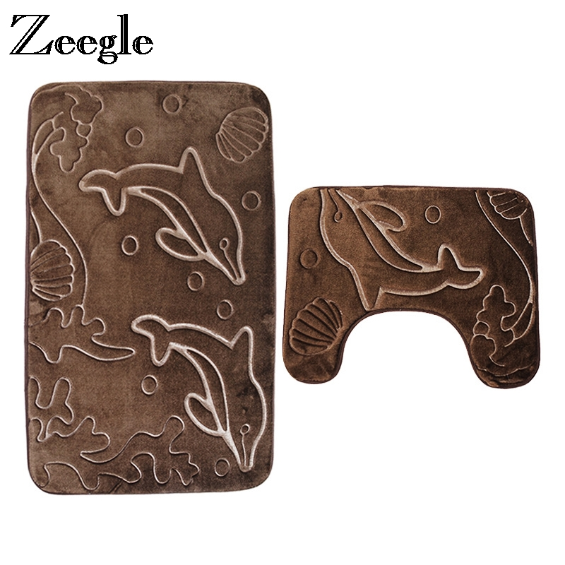Zeegle 3D Embossing 2Pcs Bath Mat Set Flannel Toilet Rug Sets Anti-slip Bathroom Floor Rugs U-shape Mat Bathroom Carpets