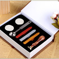 European Vintage Wax Seal Stamp Kit Envelope Letter Invitation Wax Sealing Set With Gold Red