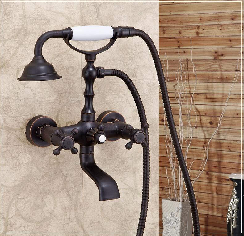 Black antique brass wall mount shower faucet set bath and shower ...