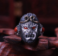 Monkey King fighting over the Buddha ring 925 silver inlaid South red ring