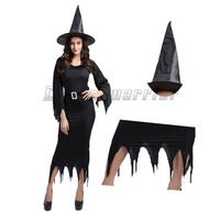 Vampire Witch Cosplay Black Ghost Bride Black Angel Costumes Witch Sexy Dress Hat Halloween Queen Costumes