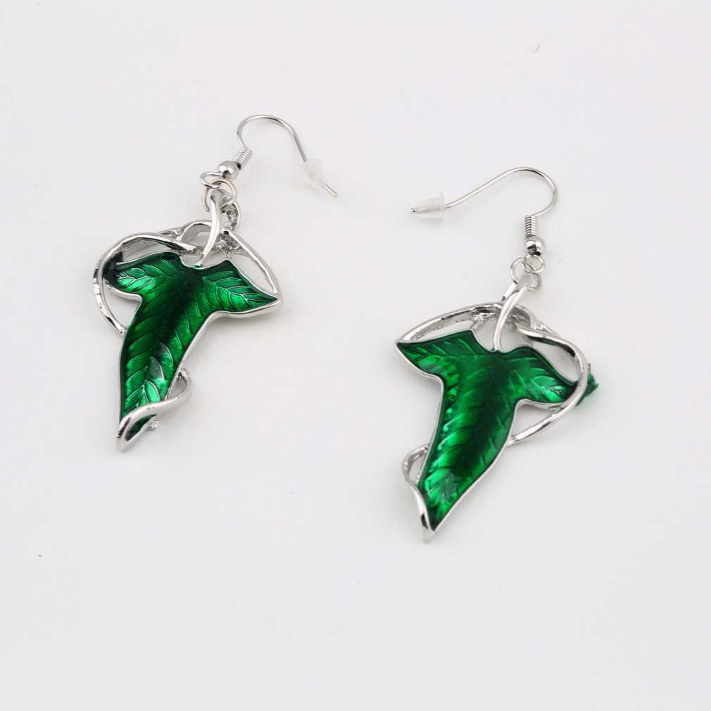 1 Pair Elegant Women Green Leaf Elven Dangle Pendant Ear Hook Earrings  Sale Fashion Jewelry A Good Gift For Your Friends