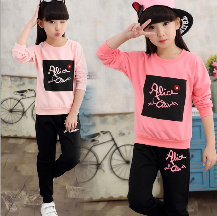 Vogue Spring Children Clothing Set Long Sleeve Pullover With Pants Tracksuits For Girls Clothes Outfits Conjunto Infantil Menina spring outfits for kids