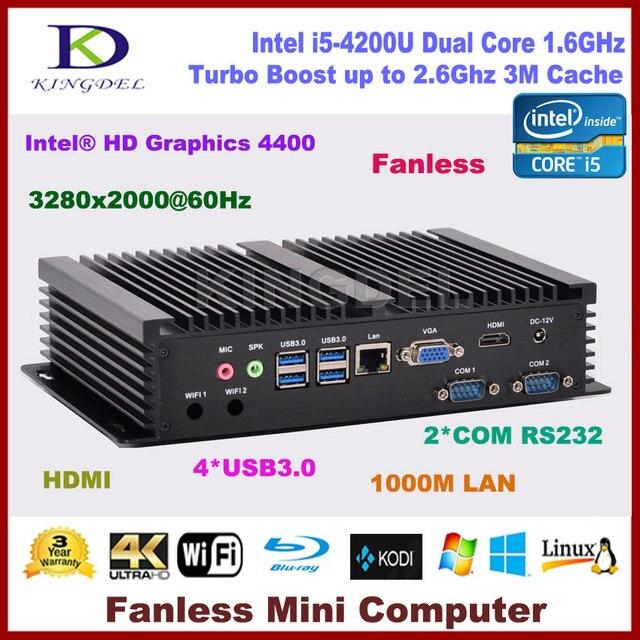 2017 Intel Core i5 4200U dual core small computer HDMI 2*COM rs232 300M WIFI VGA Fanless linux pc NC320