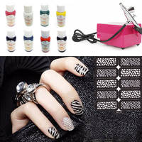 Multi Style Airbrush Nail Art Kit Aerograph paint for nail Air Brush Compressor 8 Basic Color Pigments For Nail Tattoo