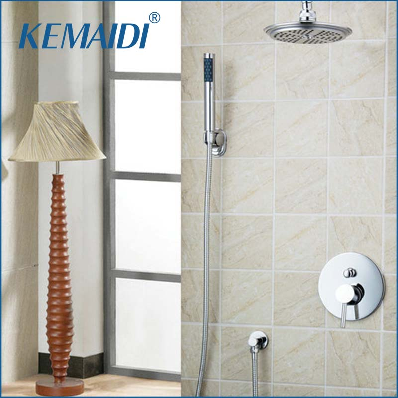 "KEMAIDI Modern Shower Set Torneira 8"" ABS Shower Head+Brass Valve+Hand Spray+Hook+Hose Bathtub Basin Sink  Tap Mixer Faucet"