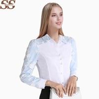 Women White Chiffon Lace Blouse Long Sleeve Shirt Female Tops Blusas Casual Plus Size 4XL Elegant