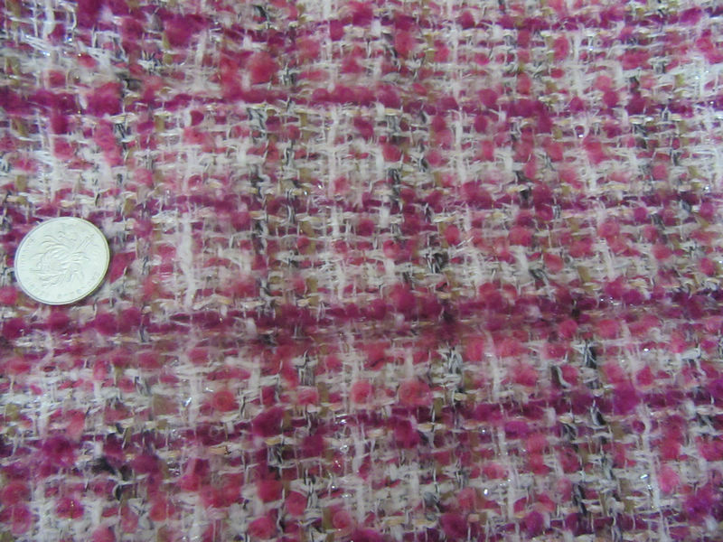 free ship tweed fabric pink color 80% wool with golden line fringe weaved 55 wide by meter