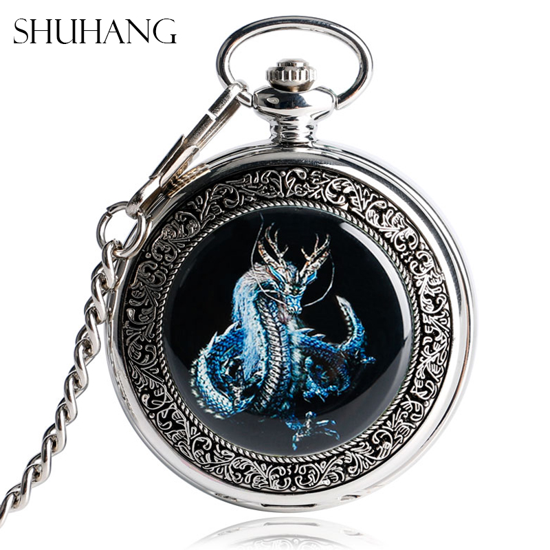 SHUHANG Evil Dragon Mechanical Pocket Watches Vintage Silver Steampunk Hand-Wind Fashion Women Men Skeleton Watch for Nurse nurse watch arabic numbers unisex watches silver mechanical fob pocket watch vintage steampunk men relogios feminino pw49