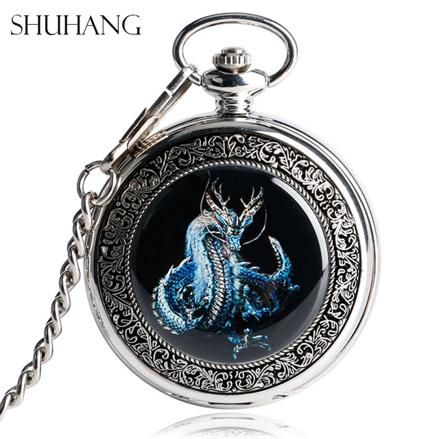 SHUHANG Evil Dragon Mechanical Pocket Watches Vintage Silver Steampunk Hand-Wind