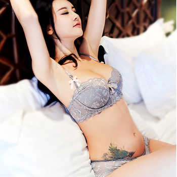 Fashion Lace Sexy Bra Sets Thin Cotton Women Underwear set Plus Size C D Cup Gray Lingerie Set Embroidery Comfortable brassiere - DISCOUNT ITEM  51% OFF All Category