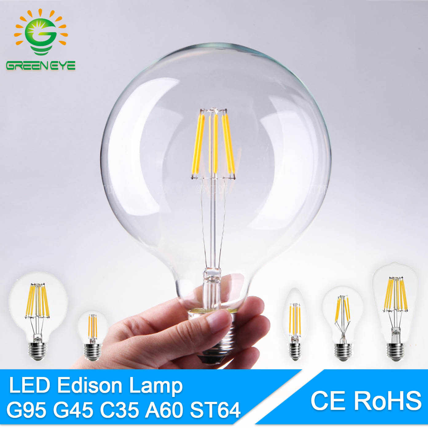 GreenEye High Bright E27 E14 LED Bulb Vintage Edison LED Lamp 220V Retro Glass LED Filament Bulb Light Candle Spotlight Ampoule