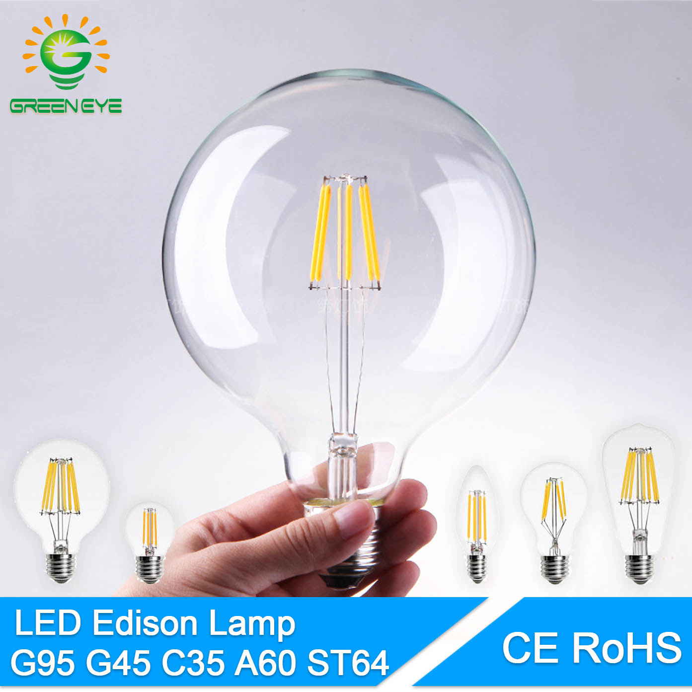 GreenEye High Bright E27 E14 LED Bulb Vintage Edison LED Lamp 220V Retro Glass LED Filament Bulb Light Candle Spotlight Ampoule retro lamp st64 vintage led edison e27 led bulb lamp 110 v 220 v 4 w filament glass lamp