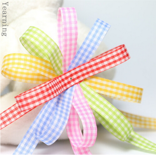 zd107 Wholesale 10MM Mix 5 Colors Single face font b Tartan b font Ribbon Fashion Craft