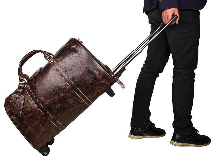 Kapazität Tasche Brown Große Tote Jmd Duffel Echtes 7077lq Trolley Rad Reise Hohe Einzigartige Gepäck Qualität Leder Kuh qazpO