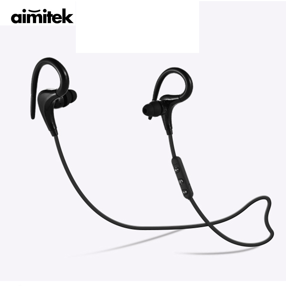 Aimitek Sports Wireless Bluetooth Earphones Ear Hook Headphones Sweatproof Stereo Earbuds Handsfree Headsets With Mic for Phones new fashion sweatproof wireless bluetooth v4 0 sports stereo headphones with mic ear hook earbuds earphones for iphone for sony