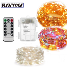 Christmas String Lights 5M 10M Warm White/RGB Waterproof Battery Powered 8 Mode Timed Dimmable Garland Decorate Light String