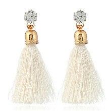 3be6de099f51 Nueva joyería declaración de moda barato de la borla pendiente largo para  las mujeres 10 colores boda cristalina cuelga Pendient.